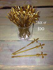"Pack of 100 Fleur de Lis Pick Gold 4"" / Cocktail, Party, Food, Olive Pick"