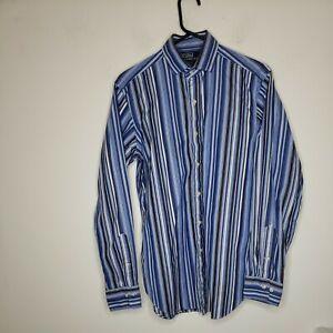 Polo Ralph Lauren Men's Button Front Shirt Size Medium Blue Striped Estate Class