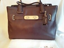 """Excellent condition! Authentic COACH Pebbled Leather """"Swagger"""" Tote Handbag-Wine"""