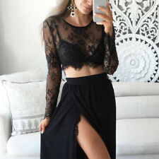 Woman Mesh Lace Long Sleeve Perspective Crop Top Tee T-shirt Blouse Pullover HOT