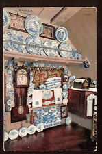 1910 N&O Delft Blue Plates interior House Marken Netherlands Holland postcard