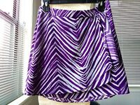 BCBG Max Azria Purple & White Animal Print A-Line Wrap Mini Skirt Women's Size 4
