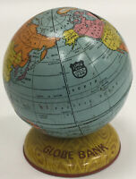 Vintage J Chein & Co. Tin Litho Globe Bank Made in USA Metal Toy