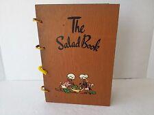 Vintage THE SALAD BOOK WOOD BINDER RECIPE ART DECO  MID CENTURY MODERN 1940s