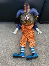 Porcelain China Faced Clown Shelf Sitter Figure / Doll Collectors Item Vintage