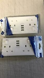 Pack of 2 BG DOUBLE SWITCHED 13A POWER SOCKET, WITH USB CHARGING, 3x USB