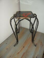 Unusual Small French Antique Wrought Iron Stand with Tile Top.