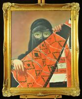 Oil painting on canvas, woman in Saudi Arabesque tribal veil, late 20th century