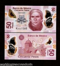 MEXICO 50 PESOS P123 2013 POLYMER UNC BUTTERFLY FISH ANIMAL MONEY BILL BANK NOTE