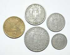 VINTAGE coins GREECE lot set 1 2 5 50 APAXMAI LEPTA world 1950s 1960s 1970s