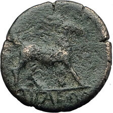 AIGAI in AEOLIS 2-1stCenBC Authentic Ancient Greek Coin APOLLO & GOAT i63142