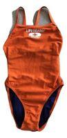 Speedo Women's Lifeguard Sz 6/32 Orange Swimsuit One-Piece Flyback Swimwear