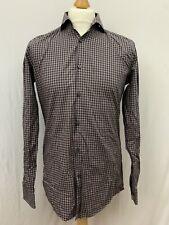Mens | Hugo Boss Tessitura Monti Checked Slim Fit Shirt | Burgundy | Size 39