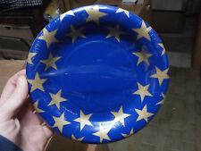 """8 Piatti di carta Natale """"Stella blu oro"""" 20.3cm piatto natalizio festa addobbo"""