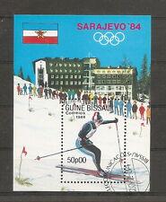 GUINEE BISSAU 1984 JEUX OLYMPIQUES D' HIVER A SARAJEVO BLOC FEUILLET OBLITERE