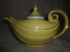 3 Pc.Vintage Canary Yellow Hall China Aladdin 6 Cup Infuser Tea Pot w/Gold Trim