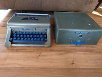Vintage Tom Thumb Metal Child's Typewriter With Case