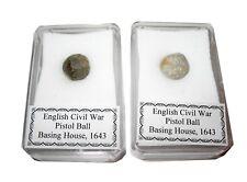 English Civil War pistol ball Battle of Basing House in display case 1643