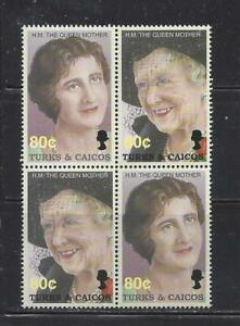 TURKS & CAICOS -  1381a-1381b BLOCK OF 4 -  MNH - 2002 - QUEEN MOTHER ELIZABETH