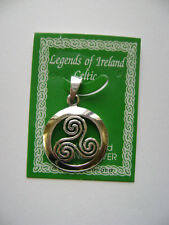 Sterling Silver Celtic Irish Triskele Circle Knot Pendant New