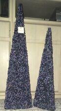 New~Nib~Beaded Pyramids Trees~Blue~Christmas Around World~House of Lloyd