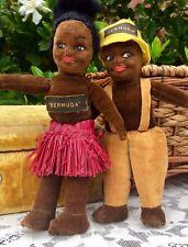 Pair Norah Wellings England Cloth Velveteen Black Islander Doll Bermuda Souvenir
