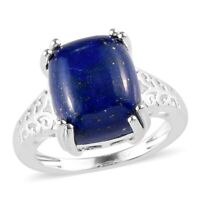 925 Sterling Silver Lapis Lazuli Solitaire Ring Gift Jewelry Size 5 Ct 5.9
