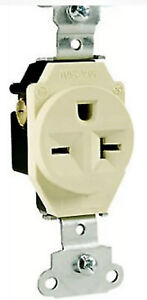Pass & Seymour #5851-ICC8 20A Ivory Heavy Duty Single Outlets (Lot Of 2 Pieces)