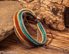 M03 Surfer Cool Multi Band Genuine Leather Hemp Men's Wrap Bracelet Wristband