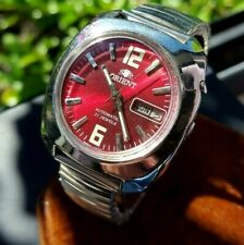 Vintage Orient Mens Watch Mech Auto 21 Jewel  Day Date - Red Dial - Stretch band