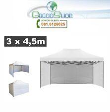 Teli laterali per gazebo pieghevole impermeabile 3x4,5m Bianco - Mod. Loop