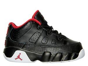 "Toddlers Nike Air Jordan Retro 9 Low ""Black/Gym Red"" Floor Sample 833906 001"