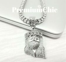 ICED Jesus Pendant & Tennis Choker Chain Necklace Mens HipHop Jewelry (Silver)