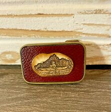 Vintage Solid Brass Hand Cast USA Eskimo Canoe Mountains Belt Buckle with Red