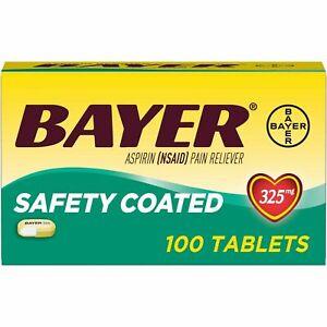 Bayer Aspirin Safety Coated 325 mg Caplets 100 Caplets june 2021