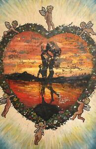 Antique abstract surrealist angels cherubs kissing couple portrait oil painting