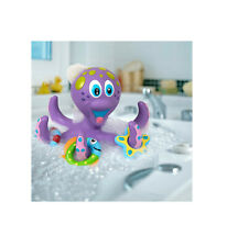 New listing Interactive Bath Toy Nuby Floating Purple Octopus with 3 Hoopla Rings