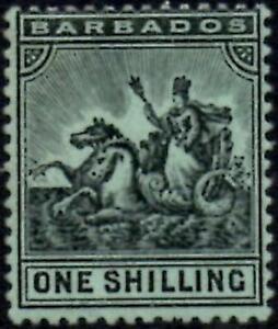 Barbados 1910  1/- Black/Green     SG.169 Mint (Hinged)   Cat:£19