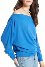 NWT FREE PEOPLE SzL VALENCIA OFF-THE-SHOULDER LONG SLEEVE PULLOVER COBALT