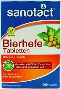 Sanotact Bierhefe, 100% natürlich, Biotin, Haare & Haut, 400 Tabletten