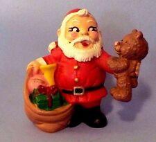 VINTAGE CHRISTMAS 1981 MINI SANTA HOLDING TEDDY BEAR PVC WALLACE BERRIE