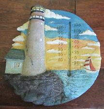 Vintage Lighthouse Decor Ceramic Wall Hanging Thermometer Temperature Gauge