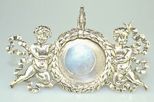 ANTIQUE SHIEBLER STERLING SILVER POCKET WATCH HOLDER FRAME WITH 2 CUPIDS AS IS