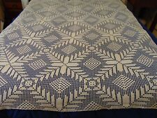 Vintage Crocheted Large Table Cloth / Off White/ 70 x 54