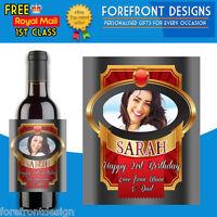 Personalised Photo Wine bottle label, Perfect Birthday/Wedding/Graduation Gift