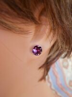 HYPOALLERGENIC Earrings Amethyst Swarovski Elements Crystal February Birthstone