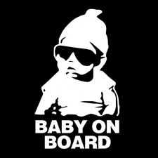 """WHITE-SILVER """"Baby on Board"""" Safety Sign Car Stickers Warning Decals 15x9cm"""