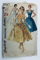 1950's Vintage Sewing Pattern Simplicity 1153 Dress with Full Skirt Bust 37""