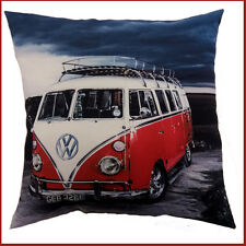 VW Camper Van red van with roofrack  Picture on a Large Cushion