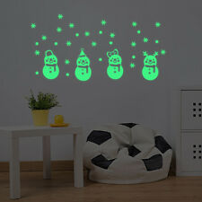 Xmas Glow Snowman Wall Stickers Living Room Luminous Stickers Window Decor Lot